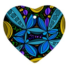 Star Polka Natural Blue Yellow Flower Floral Ornament (heart) by Mariart