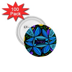 Star Polka Natural Blue Yellow Flower Floral 1 75  Buttons (100 Pack)