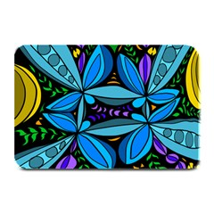 Star Polka Natural Blue Yellow Flower Floral Plate Mats by Mariart