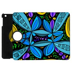 Star Polka Natural Blue Yellow Flower Floral Apple Ipad Mini Flip 360 Case by Mariart