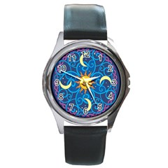Sun Moon Star Space Vector Clipart Round Metal Watch by Mariart