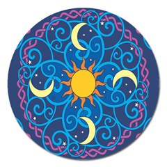 Sun Moon Star Space Vector Clipart Magnet 5  (round) by Mariart