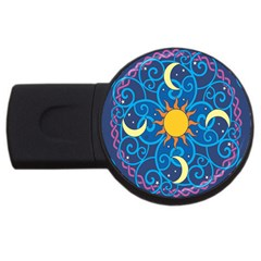 Sun Moon Star Space Vector Clipart Usb Flash Drive Round (4 Gb) by Mariart