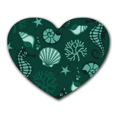 Vector Seamless Pattern With Sea Fauna Seaworld Heart Mousepads by Mariart