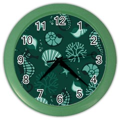 Vector Seamless Pattern With Sea Fauna Seaworld Color Wall Clocks by Mariart