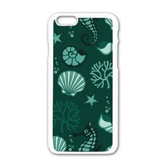 Vector Seamless Pattern With Sea Fauna Seaworld Apple Iphone 6/6s White Enamel Case by Mariart