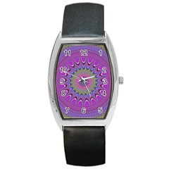 Art Mandala Design Ornament Flower Barrel Style Metal Watch by BangZart