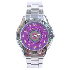 Art Mandala Design Ornament Flower Stainless Steel Analogue Watch by BangZart