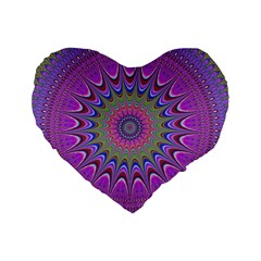 Art Mandala Design Ornament Flower Standard 16  Premium Flano Heart Shape Cushions by BangZart