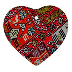 Carpet Orient Pattern Heart Ornament (two Sides) by BangZart
