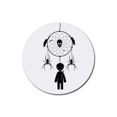 Voodoo Dream Catcher  Rubber Coaster (round)  by Valentinaart
