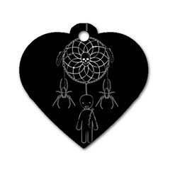 Voodoo Dream Catcher  Dog Tag Heart (one Side) by Valentinaart