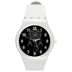 Voodoo Dream Catcher  Round Plastic Sport Watch (m) by Valentinaart