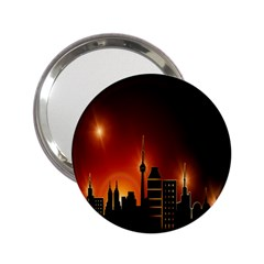 Gold Golden Skyline Skyscraper 2 25  Handbag Mirrors