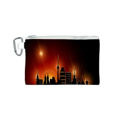 Gold Golden Skyline Skyscraper Canvas Cosmetic Bag (s) by BangZart