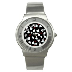 Ghost Pattern Stainless Steel Watch by Valentinaart