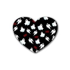 Ghost Pattern Rubber Coaster (heart)  by Valentinaart