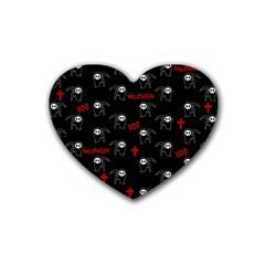 Death Pattern   Halloween Rubber Coaster (heart)  by Valentinaart