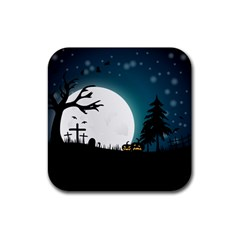 Halloween Landscape Rubber Coaster (square)