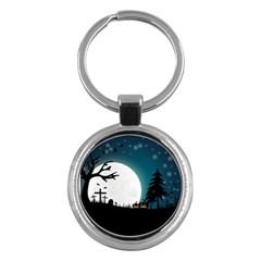 Halloween Landscape Key Chains (round)  by Valentinaart