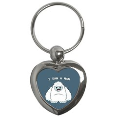 Yeti   I Saw A Man Key Chains (heart)  by Valentinaart