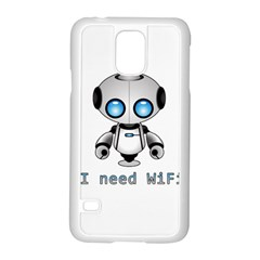 Cute Robot Samsung Galaxy S5 Case (white) by Valentinaart