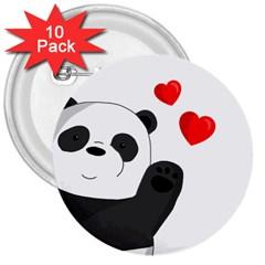 Cute Panda 3  Buttons (10 Pack)  by Valentinaart