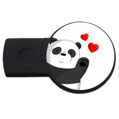 Cute Panda Usb Flash Drive Round (4 Gb) by Valentinaart