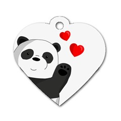 Cute Panda Dog Tag Heart (one Side) by Valentinaart