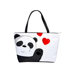 Cute Panda Shoulder Handbags by Valentinaart