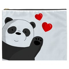 Cute Panda Cosmetic Bag (xxxl)  by Valentinaart