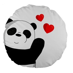 Cute Panda Large 18  Premium Round Cushions by Valentinaart