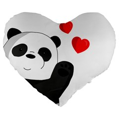 Cute Panda Large 19  Premium Heart Shape Cushions by Valentinaart