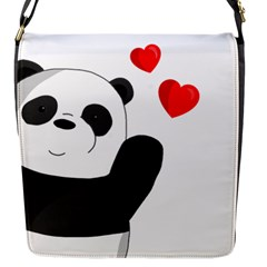 Cute Panda Flap Messenger Bag (s) by Valentinaart