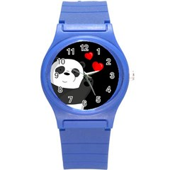 Cute Panda Round Plastic Sport Watch (s) by Valentinaart