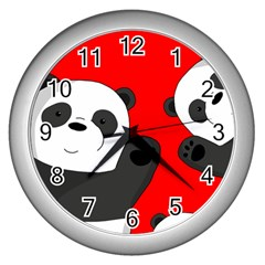 Cute Pandas Wall Clocks (silver)  by Valentinaart