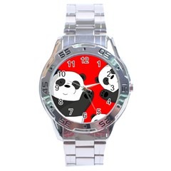 Cute Pandas Stainless Steel Analogue Watch by Valentinaart
