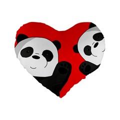 Cute Pandas Standard 16  Premium Heart Shape Cushions by Valentinaart