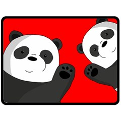 Cute Pandas Double Sided Fleece Blanket (large)  by Valentinaart