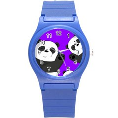 Cute Pandas Round Plastic Sport Watch (s) by Valentinaart