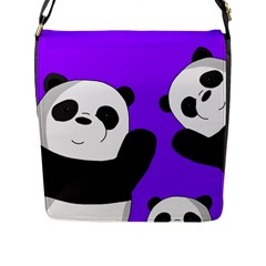 Cute Pandas Flap Messenger Bag (l)  by Valentinaart
