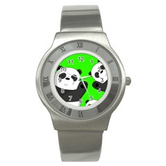 Cute Pandas Stainless Steel Watch by Valentinaart