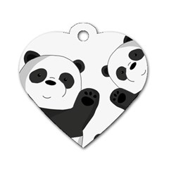 Cute Pandas Dog Tag Heart (one Side) by Valentinaart