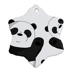 Cute Pandas Snowflake Ornament (two Sides) by Valentinaart
