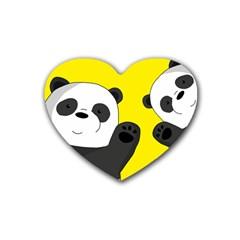 Cute Pandas Rubber Coaster (heart)  by Valentinaart