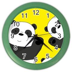 Cute Pandas Color Wall Clocks by Valentinaart