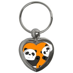 Cute Pandas Key Chains (heart)  by Valentinaart