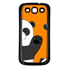 Cute Pandas Samsung Galaxy S3 Back Case (black) by Valentinaart