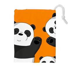 Cute Pandas Drawstring Pouches (extra Large) by Valentinaart