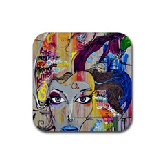 Graffiti Mural Street Art Painting Rubber Square Coaster (4 Pack)  by BangZart